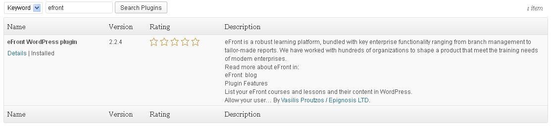 Installing eFront WP plugin
