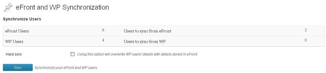 eFront options page - Sync users