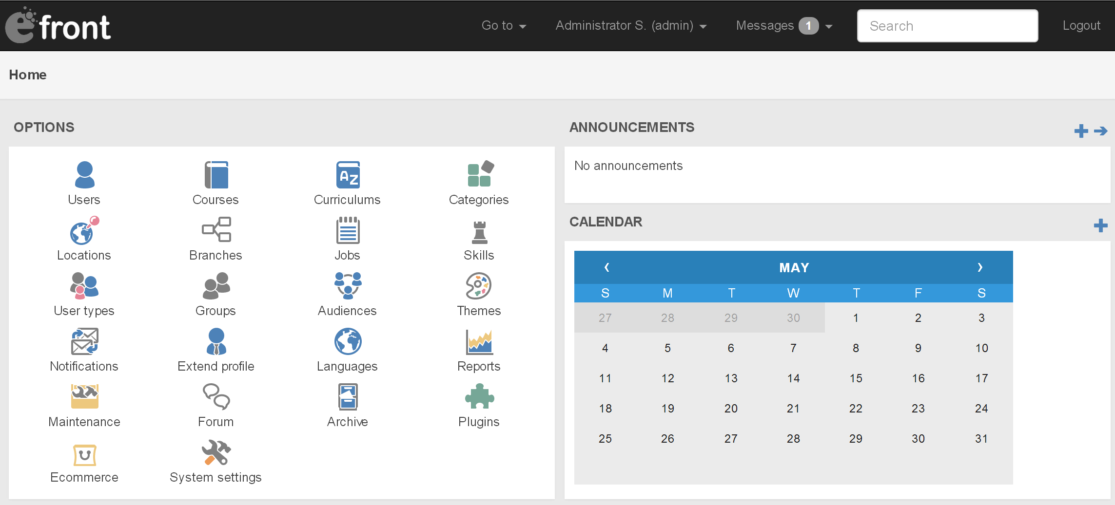eFrontPro Admin Dashboard in full size