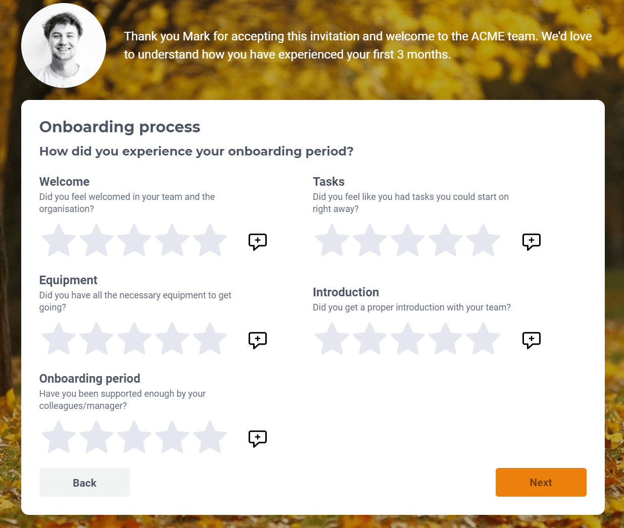 Onboarding survey example