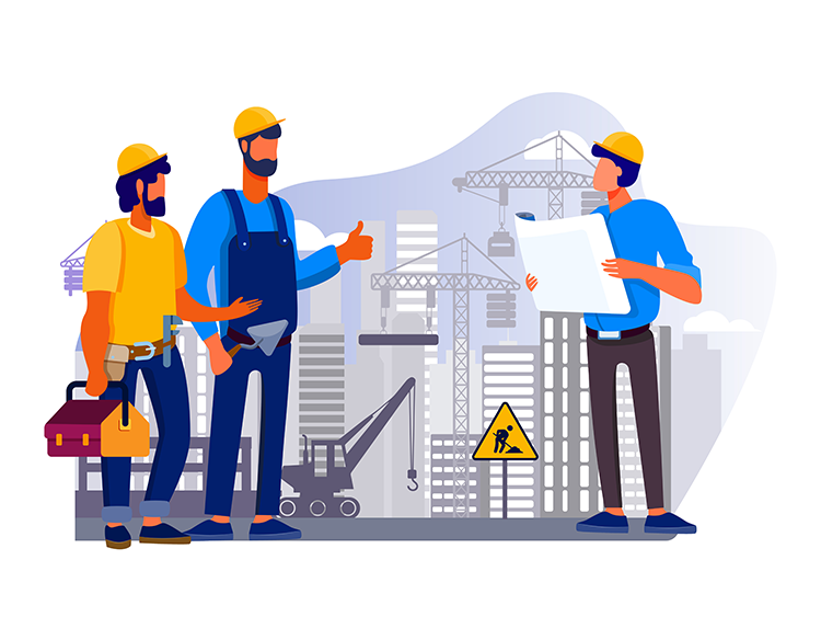 Illustrative graphic of workers in construction